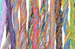 Multicolored telecommunication cables - stock photo