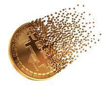 Bitcoin Falls Apart To Pixels Stock Illustration