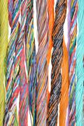 Multicolored telecommunication cables Stock Photos