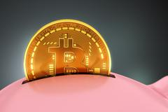 Putting Bitcoin Into Piggy Bank Stock Illustration