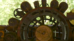 An old machinery with wheels and accessories at Astra Museum, Sibiu - stock footage