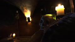 Historic tavern, a restaurant with skulls and bones in Prague. 4K. Stock Footage