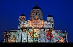 EDITORIAL: Video projection Emergence on Helsinki Cathedral at the Lux Helsinki - stock photo