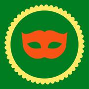 Privacy Mask flat orange and yellow colors round stamp icon - stock illustration