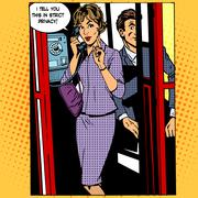 Privacy surveillance phone conversation woman Stock Illustration