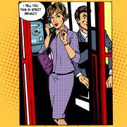 Privacy surveillance phone conversation woman Stock Illustration