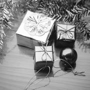 Item decorate for christmas tree black and white color tone style Stock Photos