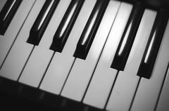 Piano keys black and white color tone style Stock Photos