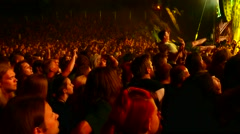 Huge crowd on a heavy metal concert Stock Footage