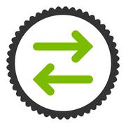 Flip Horizontal flat eco green and gray colors round stamp icon Stock Illustration