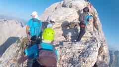 TRIGLAV, SLOVENIA - Mountaineer pov to expedition climbing Stock Footage