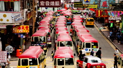 Time Lapse of Traffic and Buses in Kowloon Hong Kong Stock Footage