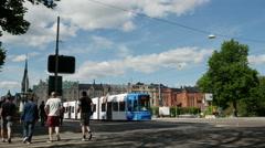 Tram from Strandvagen Boulevard, Ostermalm, Stockholm, Sweden Stock Footage