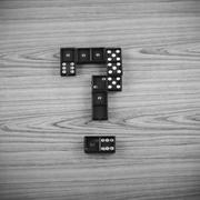 black domino black and white color tone style - stock photo
