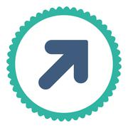 Arrow Up Right flat cobalt and cyan colors round stamp icon - stock illustration