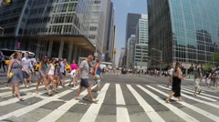 Crowd of people walking on New York City street slow motion Stock Footage