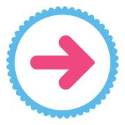 Arrow Right flat pink and blue colors round stamp icon - stock illustration
