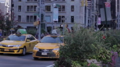Stock Video Footage of New York City Manhattan Yellow Cab Taxi Car Traffic 5th Avenue Rush Hour