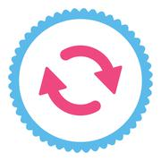 Refresh flat pink and blue colors round stamp icon - stock illustration