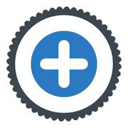 Create flat smooth blue colors round stamp icon Stock Illustration