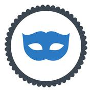 Privacy Mask flat smooth blue colors round stamp icon - stock illustration