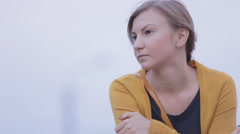 depressive woman poses for the camera - stock footage