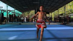 Young Asian Kid Runs At Camera In Muay Thai Boxing Gym Thailand Slow Motion Stock Footage