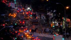 Busy street traffic cars night road construction New York City NYC - stock footage