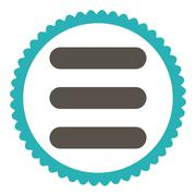 Stack flat grey and cyan colors round stamp icon - stock illustration