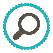 Stock Illustration of View flat grey and cyan colors round stamp icon