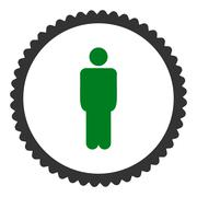 Man flat green and gray colors round stamp icon Stock Illustration
