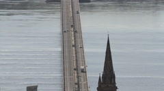 Elevated view of Tay Road Bridge Dundee Scotland Stock Footage