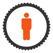 Man flat orange and gray colors round stamp icon - stock illustration