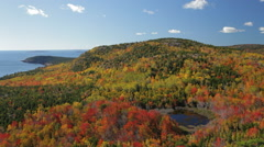Gorham Mountain and Otter Point in autumn, Acadia (pan) Stock Footage