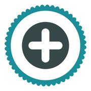 Create flat soft blue colors round stamp icon Stock Illustration
