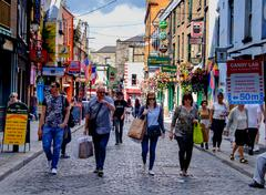 Dublin, Ireland. August 18, 2015. On the streets of Temple Bar - stock photo