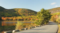 Beaver Dam Pond and Park Loop Road, Acadia National Park Stock Footage