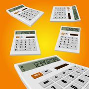 Calculator on an orange background - stock illustration