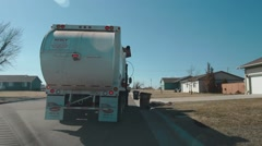 Garbage Truck Pickup Back View - Daytime Stock Footage