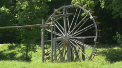 A wooden big wheel at the Open Air Museum, Sibiu - stock footage