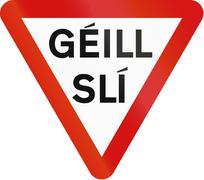 Irish Yield Sign - Gaelic Version Stock Illustration