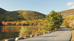 Beaver Dam Pond, Acadia National Park (pan) Stock Footage