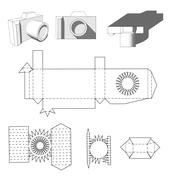 Camera paper. Paper Cuttings camera for your design or hobby. Papercraft in - stock illustration
