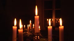 Candles In Vintage Candlestick Stock Footage