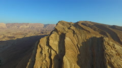 4K Aerial of the desert land of the Makhtesh Ramon Stock Footage