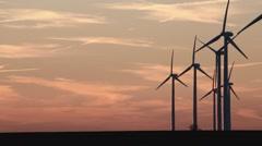 Wind Turbines - Sunset.mp4 Stock Footage