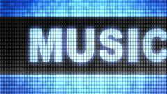 """Music"" on screen. Looping. Stock Footage"