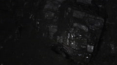 Coal Close Up Glowing Coal Lamplight Underground - stock footage