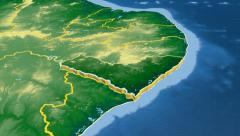 Alagoas - Brazil  extruded. Bumps shaded. Stock Footage