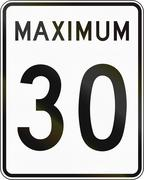 Speed Limit 30 in Canada - stock illustration